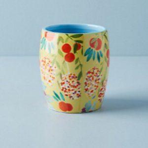 Anthropologie Sisters Gulassa Yellow Floral Pot